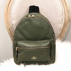 NEW Coach medium Charlie military green backpack